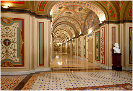 View of one of the 7 decorated corridors on the Senate's ground floor