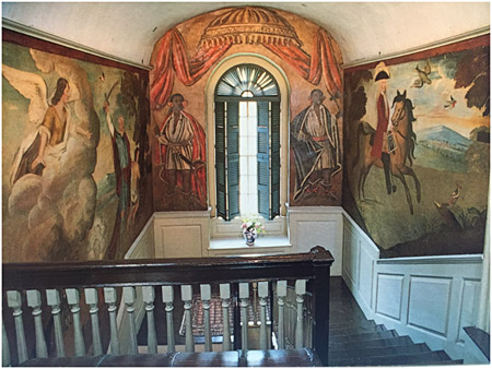 Warner House 1716 murals, treated 1988