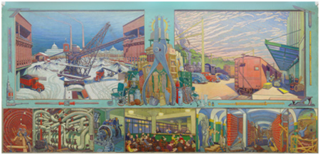 Harold Weston North wall mural 10' x 20', GSA Regional Office Building, treated in 1993.