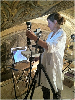 A portable digital microscope was used on site to search small areas of exposed original paint.